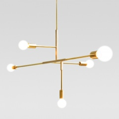 Modern 5 Light Chandelier in Black/Brass