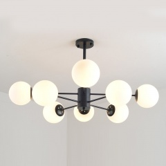 Modern 6-Light Karrington Black Spunik Chandelier with Opal Glass Globes