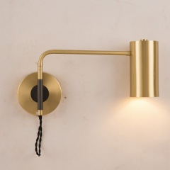 Modern 1-Light Brass Wall Sconce Bedside Reading Wall Lamp