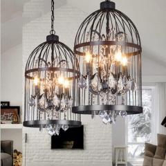 Vintage Birdcage LED light crystal chandelier Iron shade Retro Style