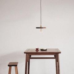 Walnut Wooden Shade Brass Pendant Light