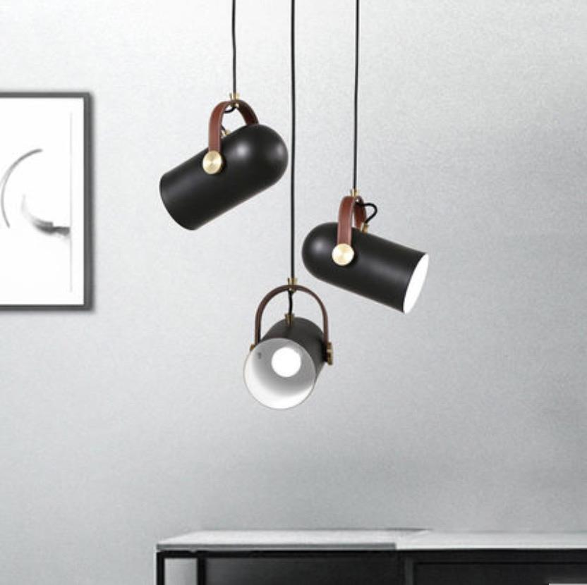 Black Spotlight Leather Strap Pendant Light