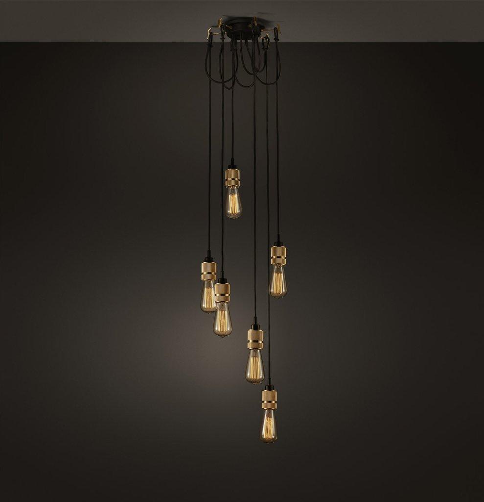 Hooked Industrial Brass 6 Bare Edison Bulb Chandelier