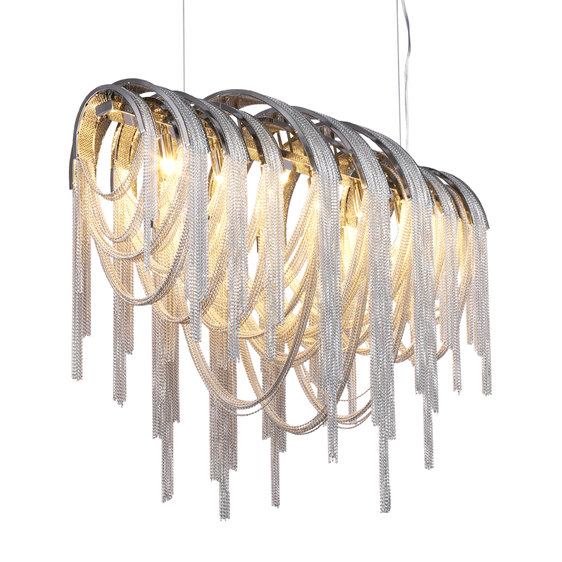 Modern Luxury 5 Light Volver Linear Chain Chandelier
