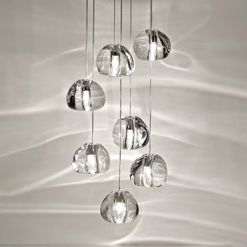 Modern Style Multi-light Stair Rail Pendant Light Crystal Glass Staircase