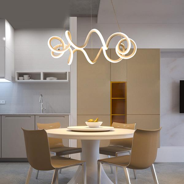 Modern White Revolving LED Chandelier Energy Star Chandelier
