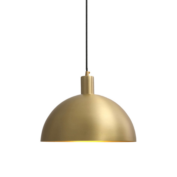 Mid-Century Modern Brass Dome Pendant Light