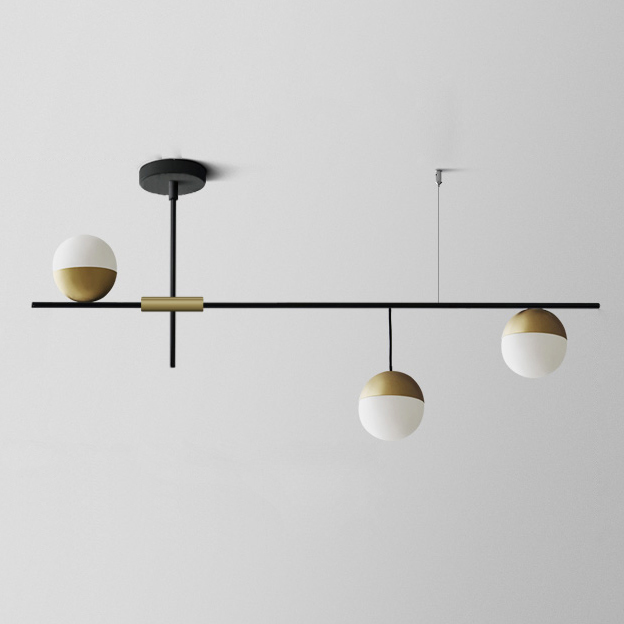 Modern 3 Light Linear Ceiling Light in Black and Brass with Glass Globes