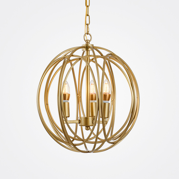3 Lights Globe Chandelier with Gold Iron Shade