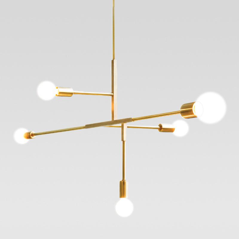 Modern 5 Light Chandelier in Black/Brass