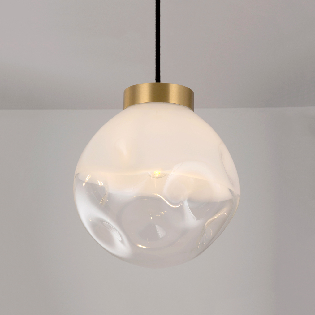 Modern Style 1-Light Half-whit Pendant Lamp with Mouth-blown Glass Shade