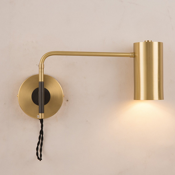 Modern 1 Light Brass Wall Sconce Bedside Reading Wall Lamp