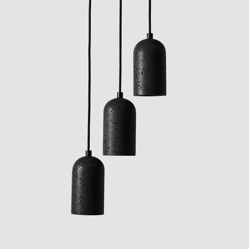Black Lava E Concrete Pendant Light