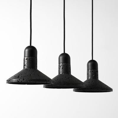 Black Lava D Concrete Pendant Light