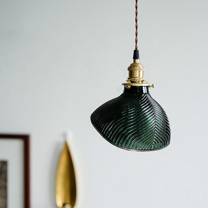 Emerald Fluted Shell Glass Pendant Light