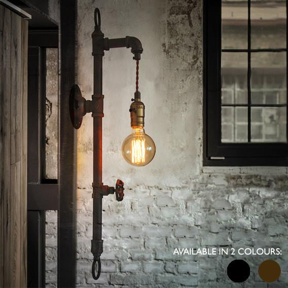 Wall Fixed Water Pipe Turned Wall Light w/ Rustic Industrial Retro Feel