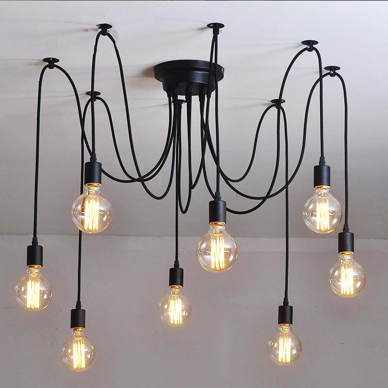 10 Light Cable Chandelier in black