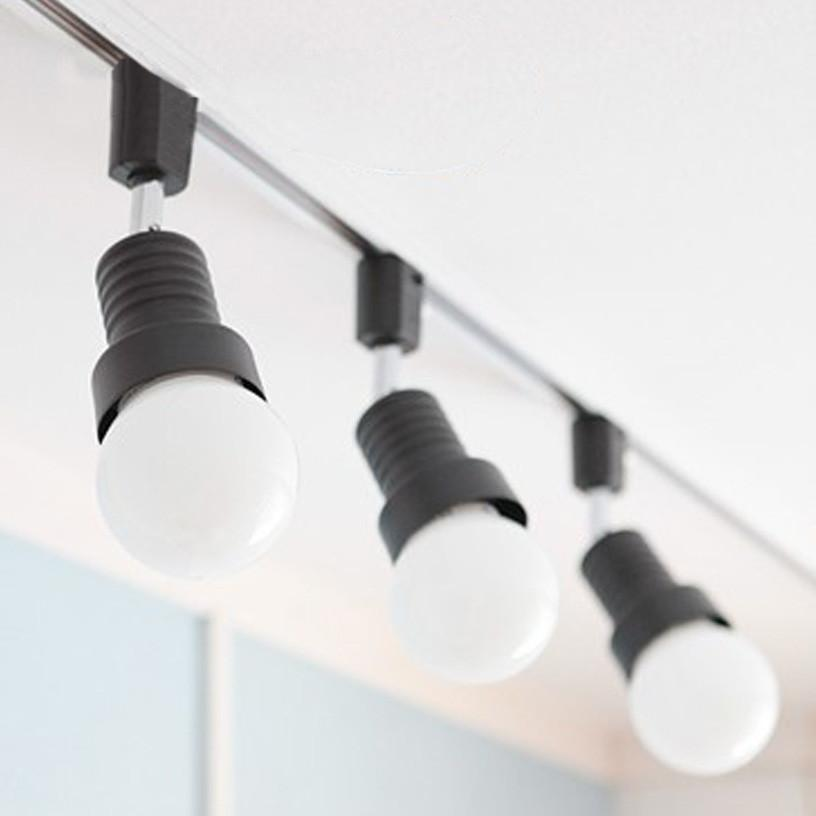 Track Light With 3 White Bulbs
