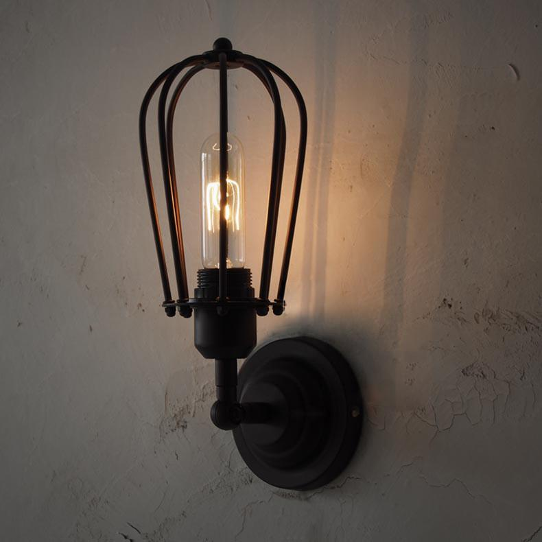 Pear Metal Cage Black Wall Sconce Light