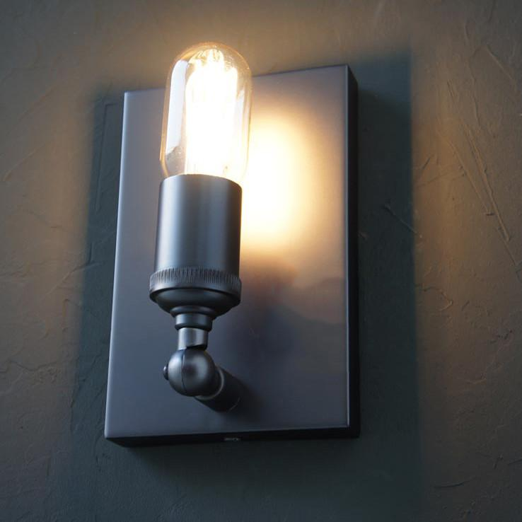 Simple Rectangle Exposed Bulb Wall Light Sconce
